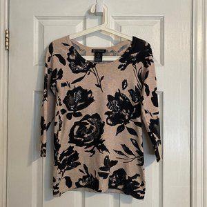 INC International Concepts Beige Floral Sweater